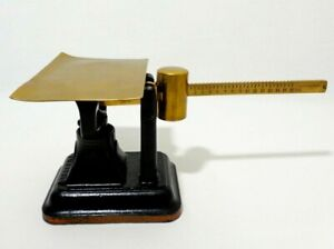 Rare Antique Fairbanks Painted Cast Iron Postal Scale W Brass Tray Arm Weight