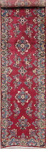 Antique Persian Runner Wool Rug Floral Hand Knotted Oriental Pink Carpet 3 X 14
