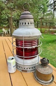 Rare Antique Perko Maritime Ship Oil Lantern W Burner Red Lens Large 21