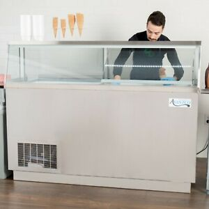 67 3 4 12 tub Stainless Steel Ice Cream Dipping Cabinet Freezer Glass Canopy