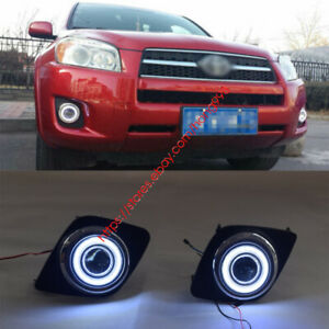 For Toyota Rav4 2009 2011 Front Bumper Lights Driving Fog Lamps angel Eye Kit
