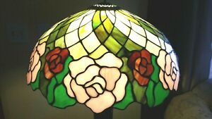 Antique Quoizel Collectible Tiffany Style Stained Glass Lamp Shade Signed 51
