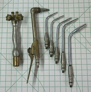 Rare C 1950 Vintage Oxweld Torch Cutting Attachment Tip Set Oxy Acetylene Usa