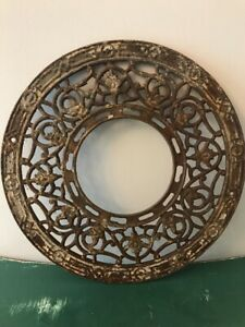 Vintage Round Air Vent Cover Grate Art Deco Style Cast Iron 15 1 2
