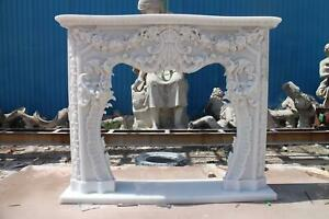 Incredible Hand Carved Marble French Style Estate Fireplace Mantel Zb F003