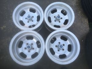 Vintage 14 Inch Aluminum Slot Wheel Rims set Of 4 Mopar 5 On 4