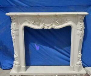 Beautiful Hand Carved Marble French Style Estate Fireplace Mantel Ttm5