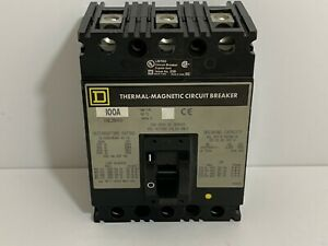 New Square D Circuit Breaker Fhl36100 3 Pole 100 Amp