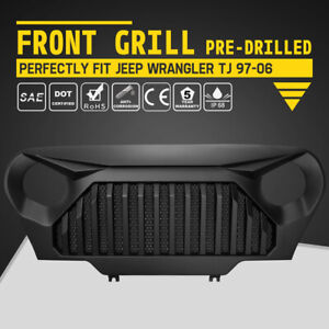 Matte Black Grille Cover Front Grille Pre Drilled For Jeep Wrangler Tj 1997 2006