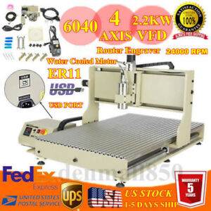 New 4 Axis 2200w Desktop Cnc Usb Router Engraver Milling Engraving Machine 6090z