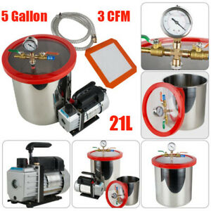 5gallon Vacuum Degassing Chamber Silicone Kit W 3cfm Pump Hose Us Sale