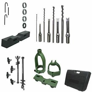 Woodworking Mortising Attachment Kit Drill Press Jig Case Bits Reducing Collar