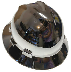 Msa Full Brim Vguard Hard Hat Custom Chrome W Free Brb Tshirt