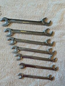 Snap On 7 Piece Standard Angle Head Open End Wrench Set Sae 3 8 3 4 Vs