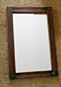 Vintage Wood Framed Glass Mirror Shabby Cottage Country Decor 15x23 Frees