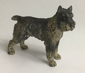 Marked Austria Cold Painted Bronze Schnauzer W Glass Eyes
