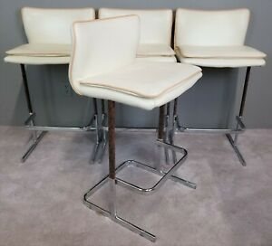 Set Of 4 Vtg Mcm Genuine Fine Leather And Chrome Bar Stools Mid Century Modern