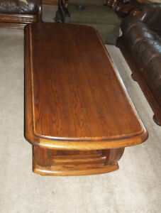 Vintage 1991 German Coffee Table And End Tables Solid Oak