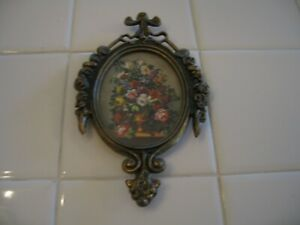 Vintage Ornate Filigree Gold Frame Wth Barbola Roses Floral Picture Print Italy