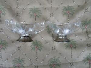 High Quality Frank Whiting Co Sterling Silver Etched Glass Sugar Creamer