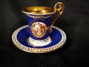 Bse Bremer Schmidt E Germany Cobalt Blue Porcelain China Demitasse Cup Saucer