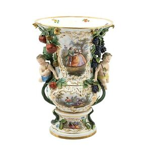 Meissen Amazing 19th Century Pictorial Porcelain Large Vase