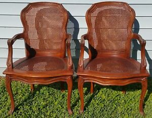Pair Vintage Thomasville French Provincial Country Cane Back Seat Armchairs