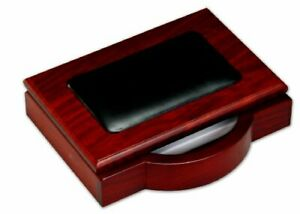 Dacasso Rosewood And Leather Memo Pad Holder 4 inch By 6 inch