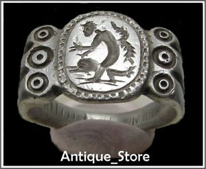 Cupid And Dolphin Ancient Silver Legionary Greek Roman Ring Amazing 13 14g