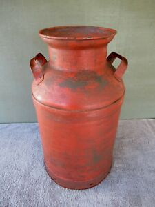 Antique Milk Can Vintage Large Primitive Metal Faded Red Paint 23 Tall