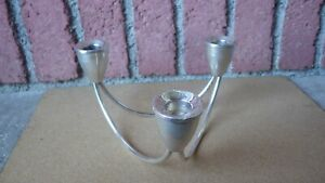 Duchin Creation Sterling Silver Mid Century Danish Modern 3 Arm Candle Holder