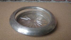 Vintage Frank M Whiting Beaded Sterling Silver Rim Glass Wine Bottle Coaster