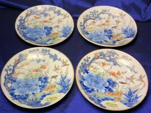Antique Japanese Fukagawa Hand Painted Plates Signed Set Of 4 6 1 3 Exquisite