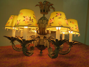 Vintage Retro 50 60s Pineapple Wood Brass Chandelier 8 Arms With Lampshades