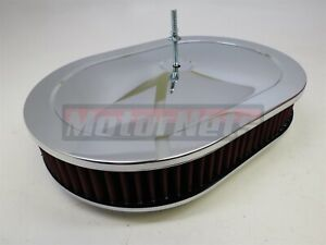 12 Chrome Oval Red Washable Reusable Air Cleaner Ford Chevy Sbc Bbc Mopar 350