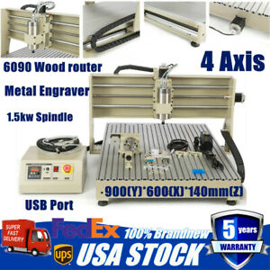 4axis 1500w 6090 Usb Cnc Router Engraver Engraving Cutting Milling Machine 1500w