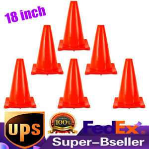 6pcs 18 Inch Traffic Cones Wide Body Parking Emergency Safety Cones Fluorescent