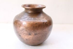 Vintage Hand Made Parrot Engraved Water Pot Old Copper Pot Lota Nh4521