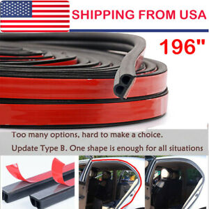 16ft B Shape Type Trim Rubber Strip Universal Car Door Edge Seal Weather Strip