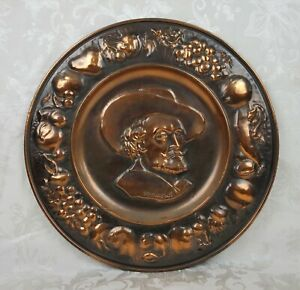 Vintage Belgian Hammered Copper Plate Wall Hanging Peter Paul Rubens Portrait