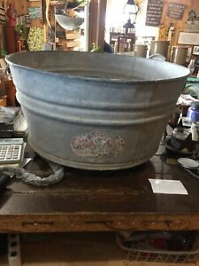 Vintage Older Round Galvanized Wash Tub 12 H By 2 Ft By 2ft