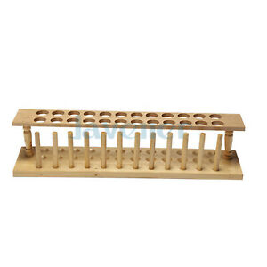 24 Holes Lab Wooden Test Tube Storage Holder Bracket Rack With Stand Sticks