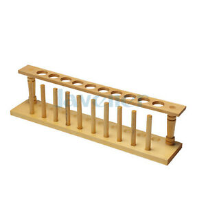 10 Holes Lab Wooden Test Tube Storage Holder Bracket Rack With Stand Sticks