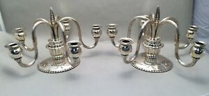 Pair Of Continental Silver Five Light Candelabras