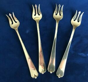 Watson Lotus Sterling Silver Cocktail Seafood Forks Set Of 4 Forks No Mono