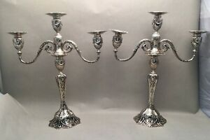 Pair Of Sterling Candelabras By Graff Washbourne Dunn In Bow And Flower Design