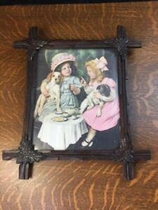 Vintage Wooden Adirondack Picture Frame Print Tea Party Little Girls And Puppies
