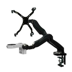 76mm Microscope Dual Pneumatic Articulating Arm Clamp Stand Monitor Holder