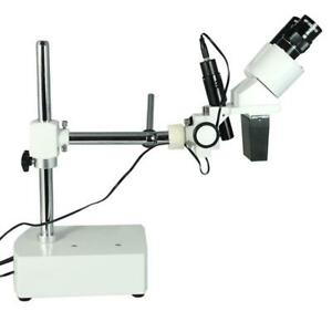10x Widefield Stereo Microscope Single Arm Boom Stand Incandescent Top Light