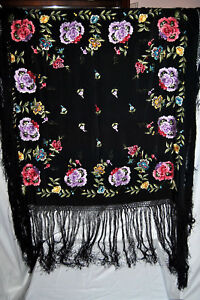 Antique Victorian Fringe Piano Scarf Shawl Black Floral Embroidered